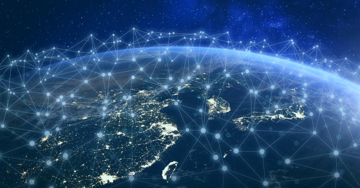 глобальная сеть, подключенная через Азию, Китай, Японию. shutterstock